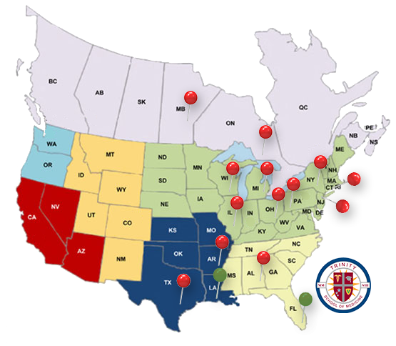 Results Of The Match US And Caribbean Medical Schools - Map of medical schools in the us