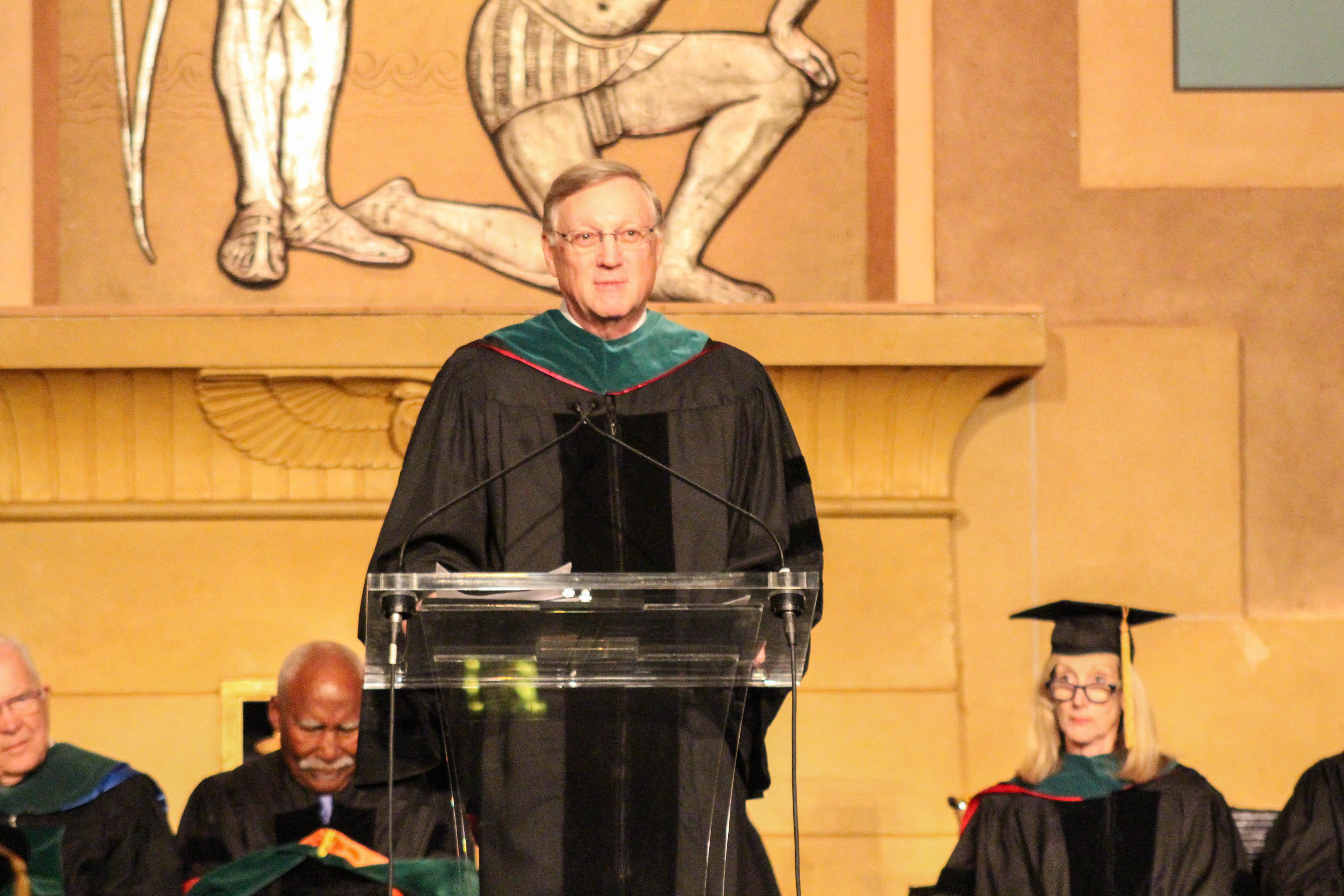 President Wilson addresses the audience