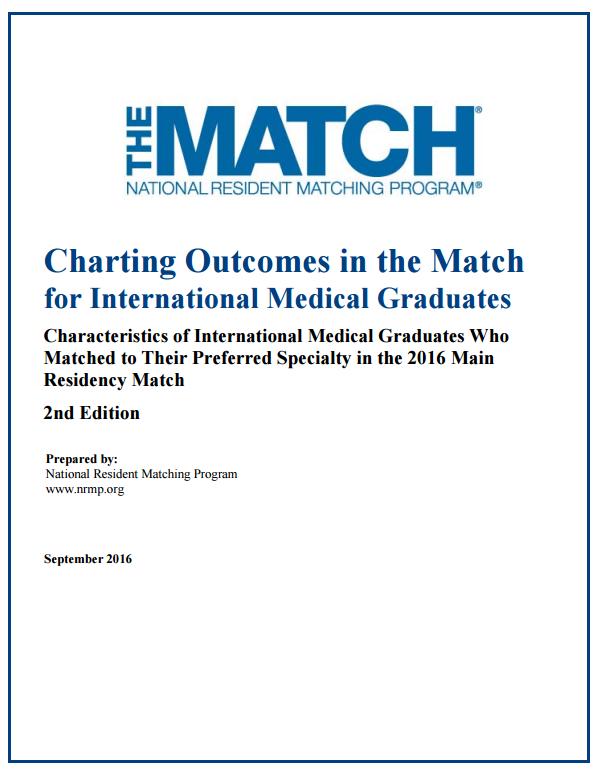 charting outcomes in the match for international medical graduates